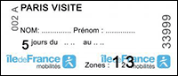 Métro Ticket Paris Visite