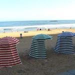 Strand in Biarritz mit Windschutz