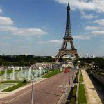 Blick auf den Eiffelturm Jardins de Trocadero