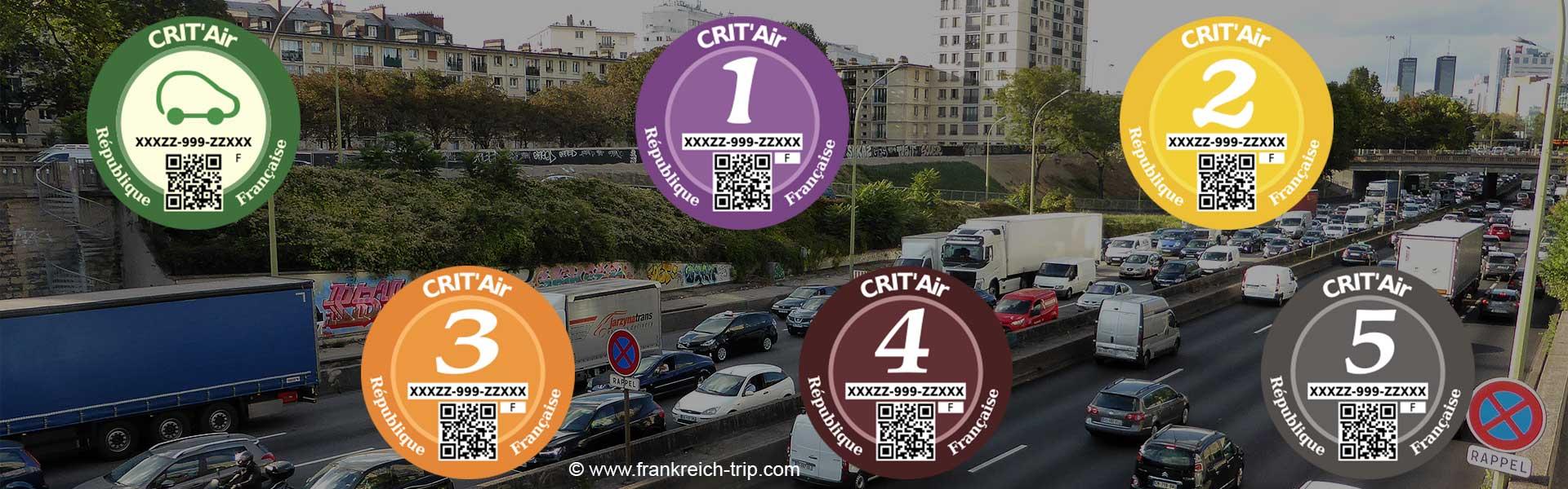 Umweltplaketten CRIT'air in Frankreich